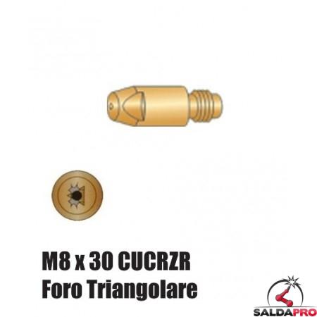 Punte serie M8x30 CUCRZR Foro Triangolare per torce serie BZ - Ø 1,0 - 1,6 (10pz)