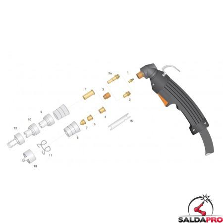 dettaglio torcia completa lincoln ews ex402v ex60 attacco centralizzato taglio plasma