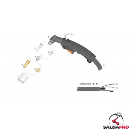 dettaglio torcia completa max40 pac140 ht40 taglio al plasma hypertherm