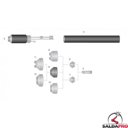 dettaglio torcia automatica completa pchm/m 52 taglio plasma thermal dynamics