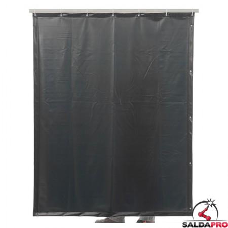 tenda di saldatura verde scuro T9 larghezza 140 cm cepro con  ganci di sospensione
