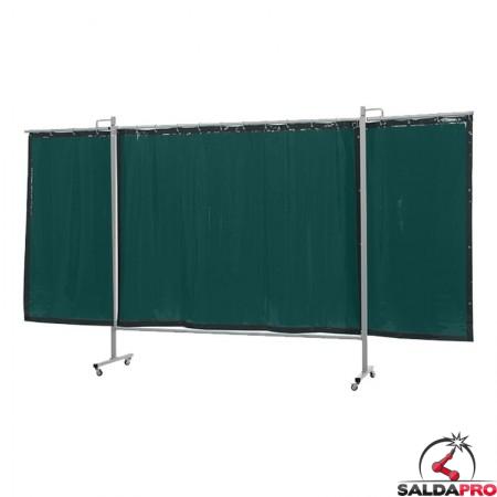 schermo di saldatura mobile omnium verde chiaro T6 375x200 cm a 3 ante cepro