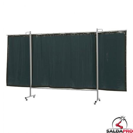 schermo di saldatura mobile omnium verde scuro T9 375x200 cm a 3 ante cepro