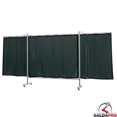 schermo di saldatura mobile omnium verde scuro T9 435x200 cm a 3 ante cepro