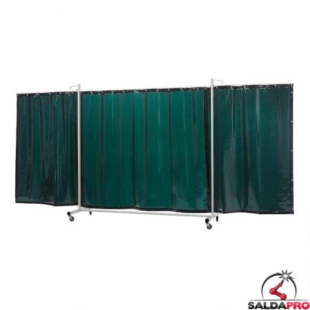 schermo di saldatura mobile robusto XL a 3 ante verde chiaro T6 430x210 cm cepro