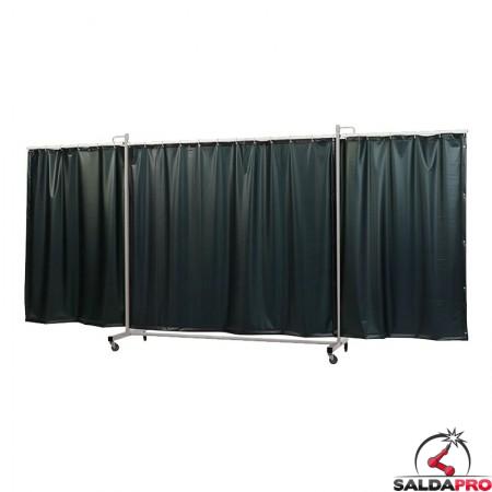 schermo di saldatura mobile robusto XL a 3 ante verde scuro T9 430x210 cm cepro