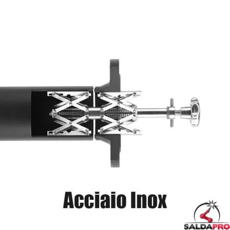 morsetto interno per allineamento tubi Spider Clamp Serie 400 acciaio inox Tag-pipe