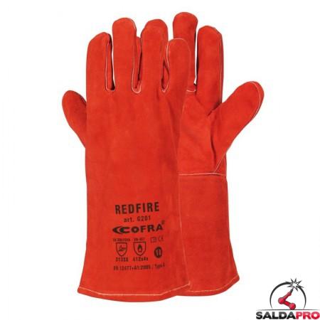 guanti saldatura Cofra RedFire pelle crosta bovina manichetta 14 cm