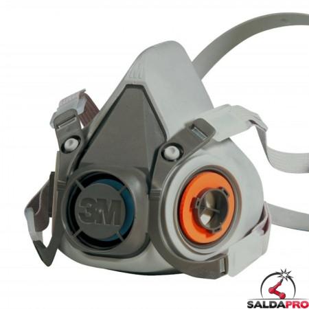 Respiratore a semimaschera 2 filtri 3M 6200 polveri, vapori, gas 7000146847