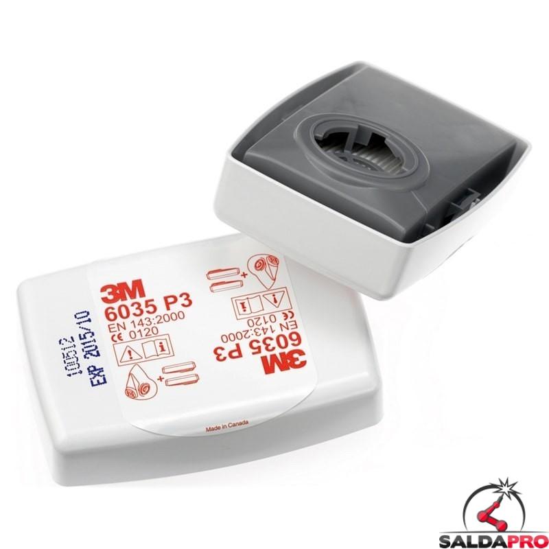 Filtro antiparticolato 3M 6035 Classe P3 per particelle solide e liquide con involucro rigido 7000032083