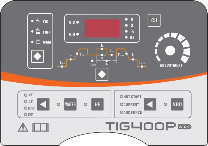 pannello di controllo saldatrice elettrodo TIG DC 400P Jasic