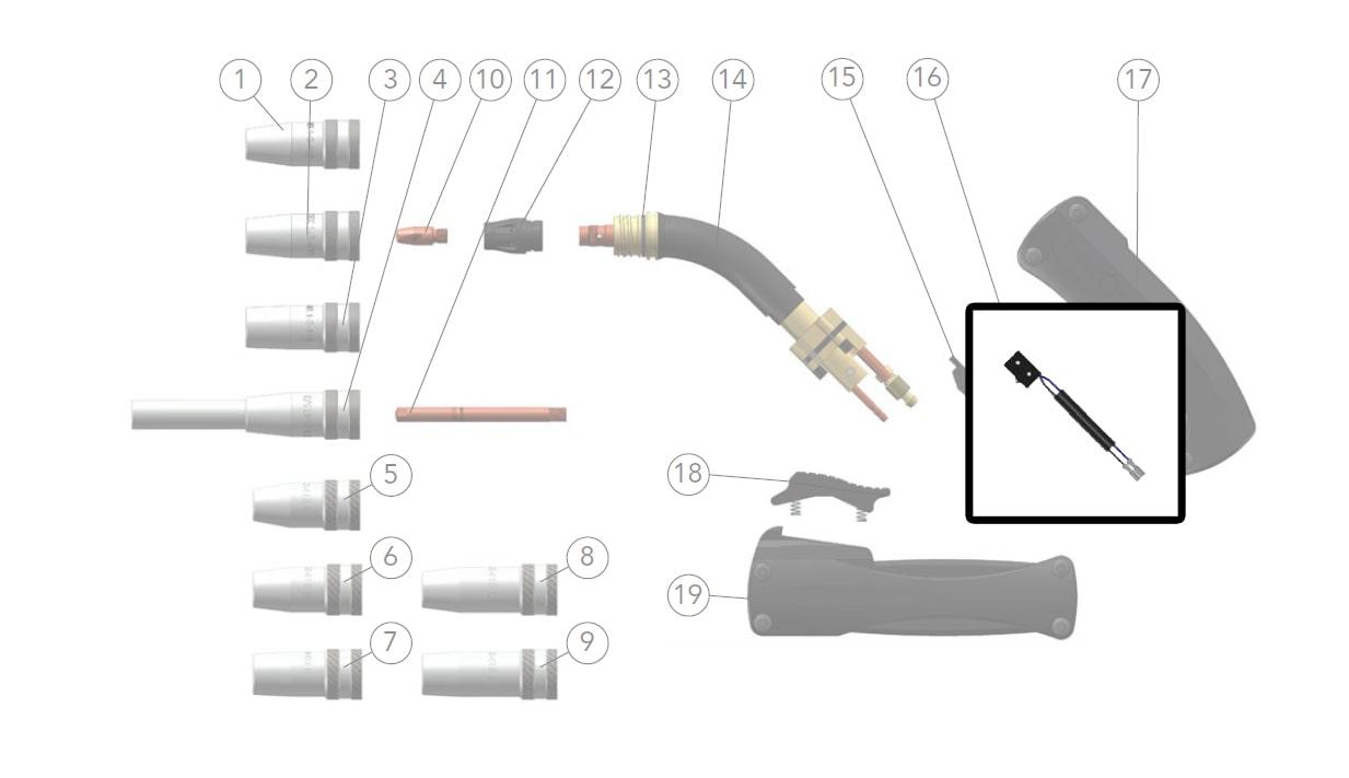 dettaglio micro switch dinse torce saldatura mig mag