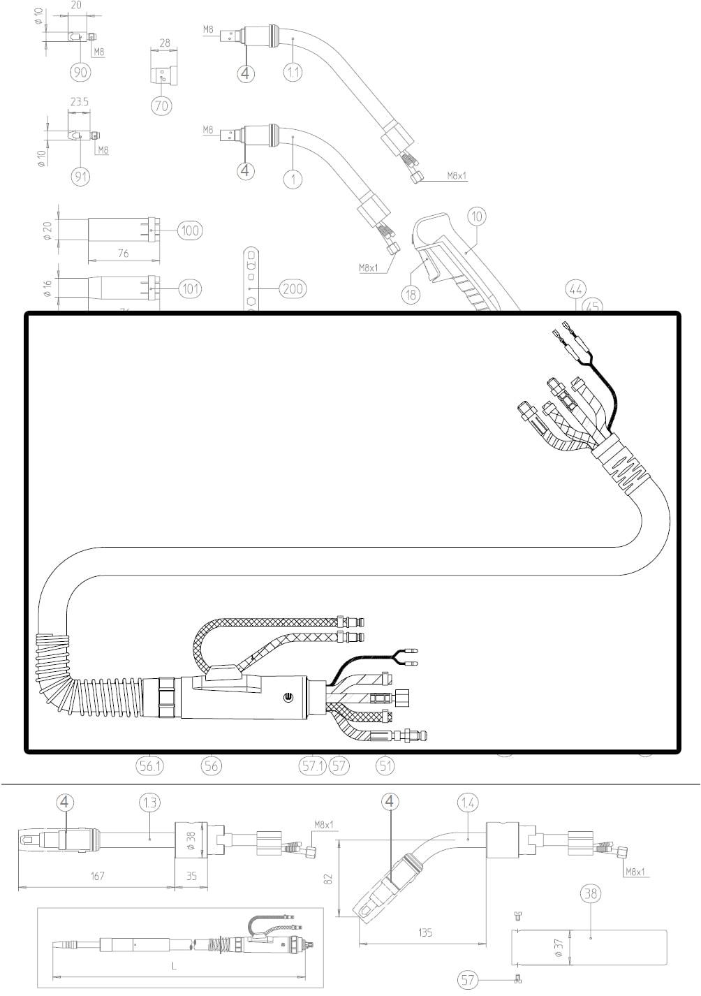 Dettaglio fasciame completo di ricambio abicor binzel 0220034