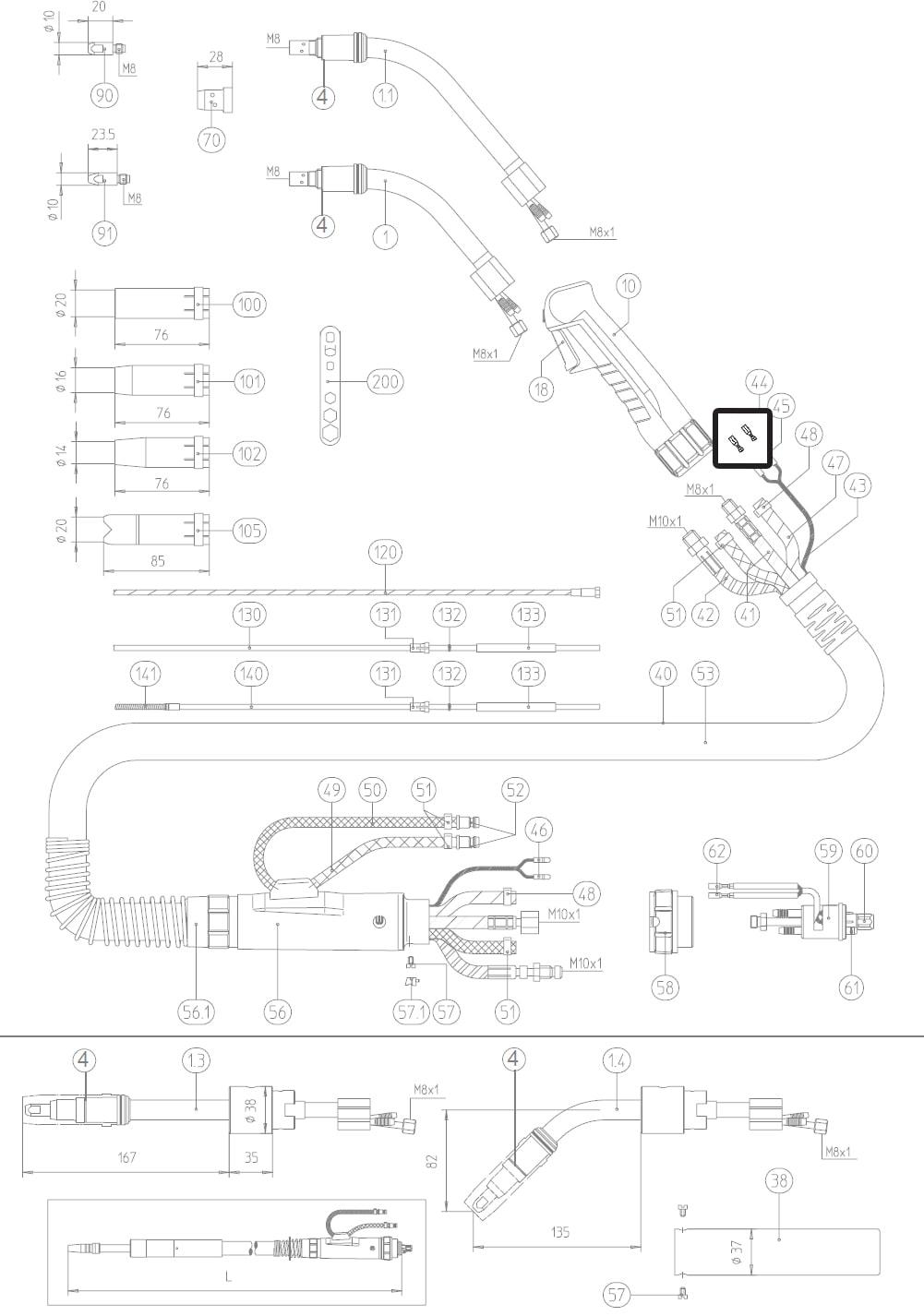 Dettaglio fastoncavetto micro torcia mig abicor binzel BZ1750022