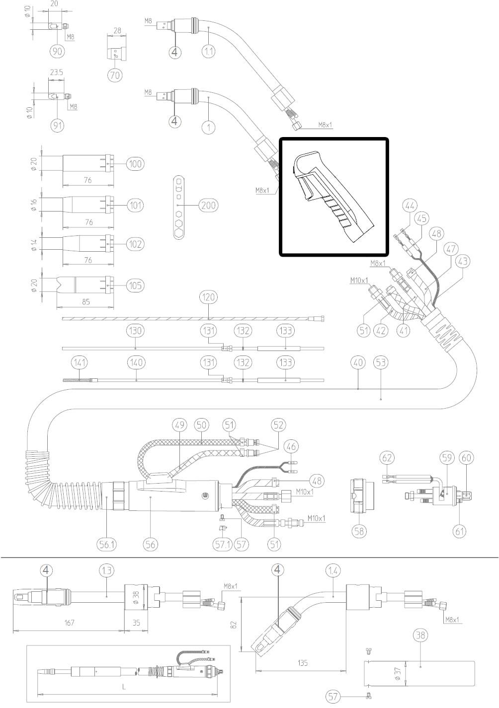 Dettaglio impugnatura ergo inferiore torcia mig abicor binzel BZ4000335