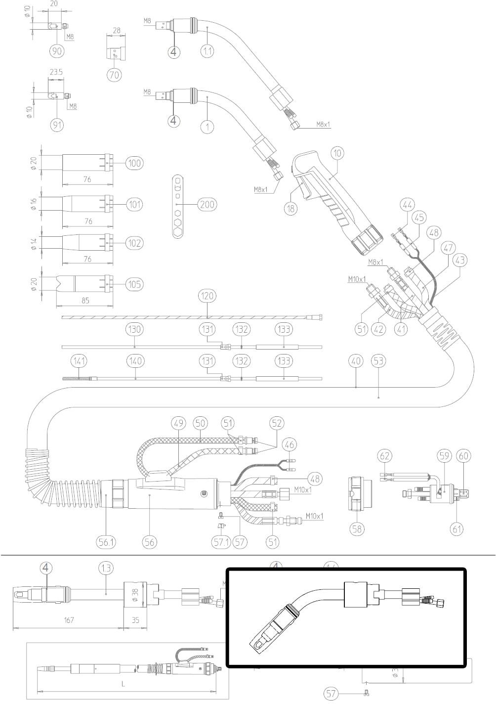 Dettaglio ricambio lancia terminale torcia macchina AUT 501D abicor binzel 9340002