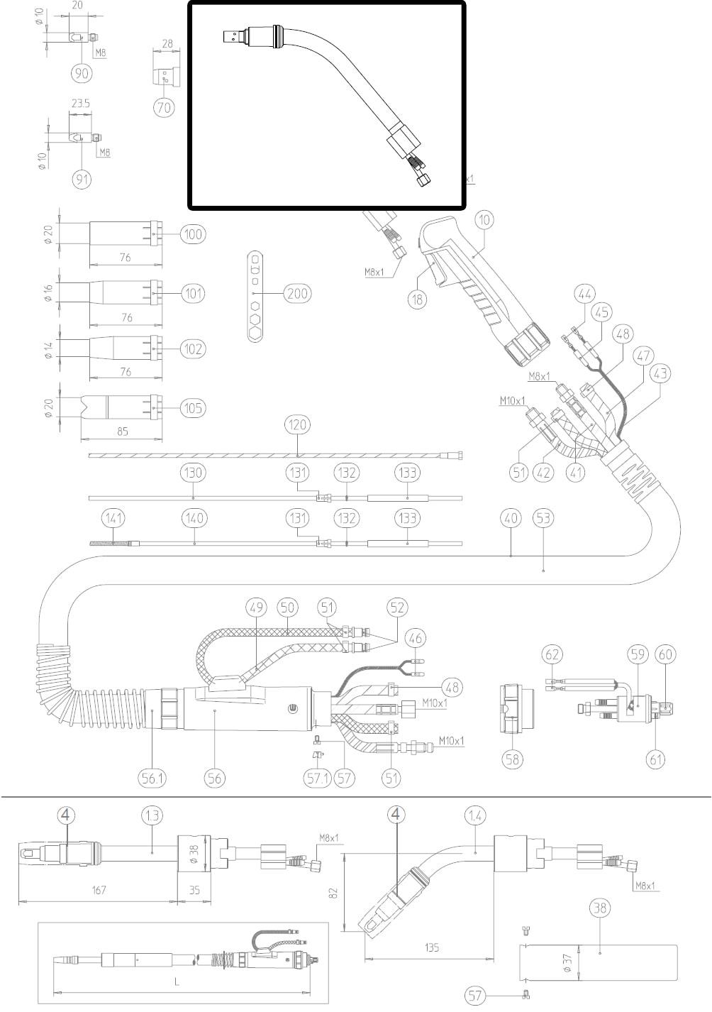 Dettaglio ricambio lancia terminale torcia MB 501D abicor binzel 0340001