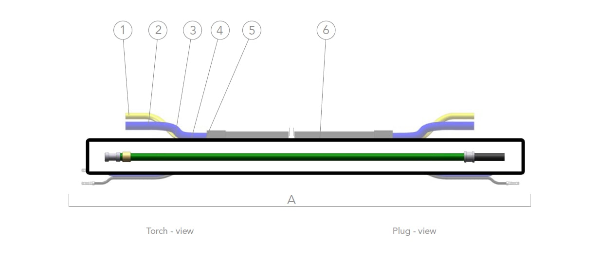 dettaglio tubo porta guaina 4 metri dinse torce saldatura mig mag