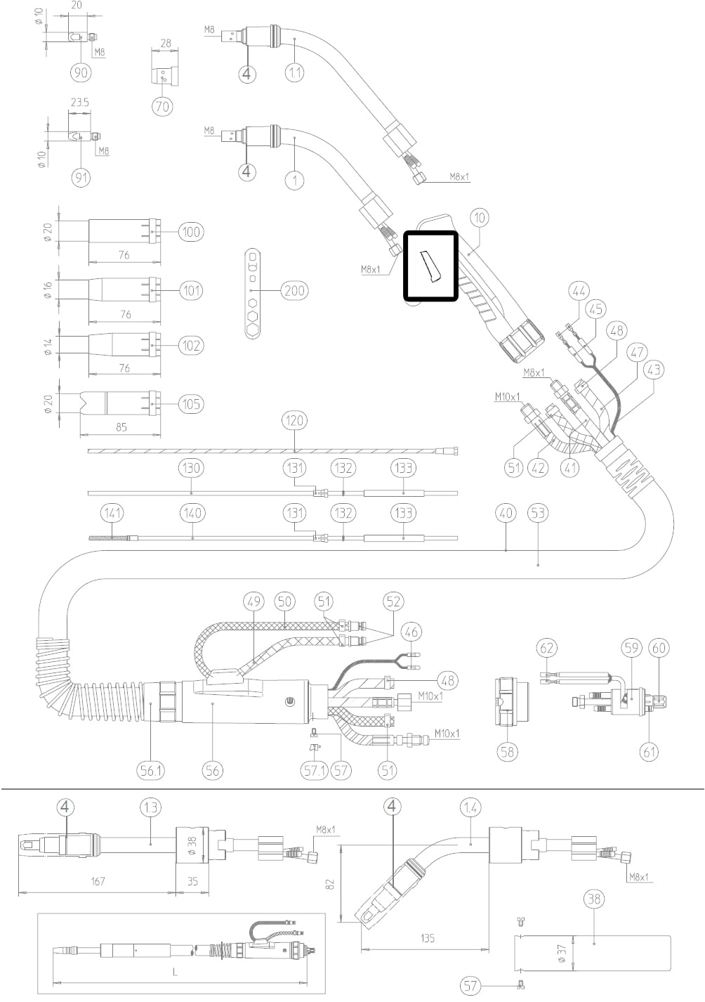 Dettaglio pulsante micro switch torcia mig abicor binzel BZ1850031