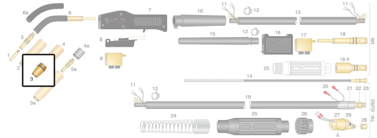 Dettaglio boccola di ricambio per torcia TW2