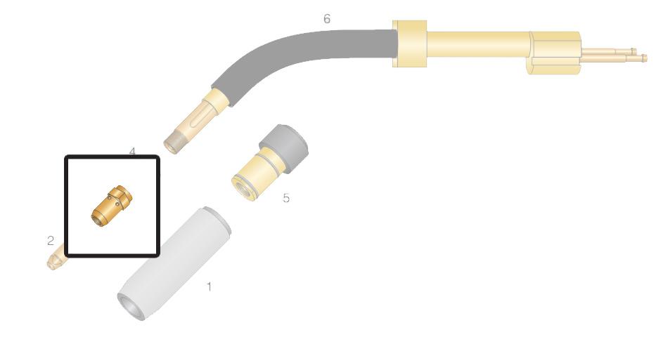 Dettaglio diffusore gas CU per torcia RH 502