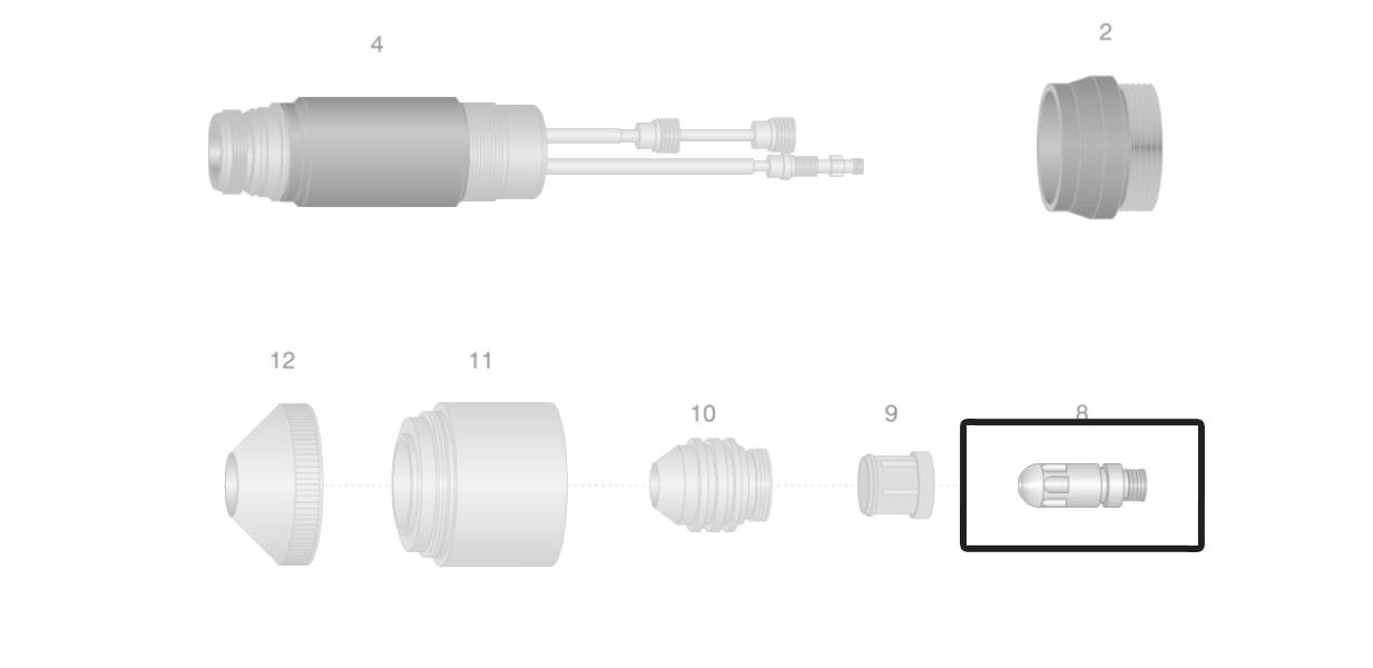 dettaglio elettrodo azoto torcia macchina thermal dynamics maximize300 taglio plasma