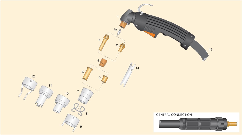 dettaglio parti torcia cebora P70 terminale attacco centralizzato