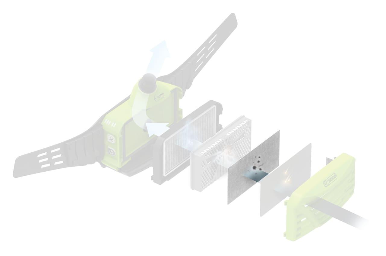 dettaglio posizione prefiltro sistema filtraggio papr e300 optrel