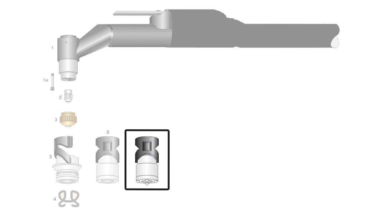 dettaglio protezioni esterne cuffia ti100 torcia taglio plasma saf-fro cp40r cp100r