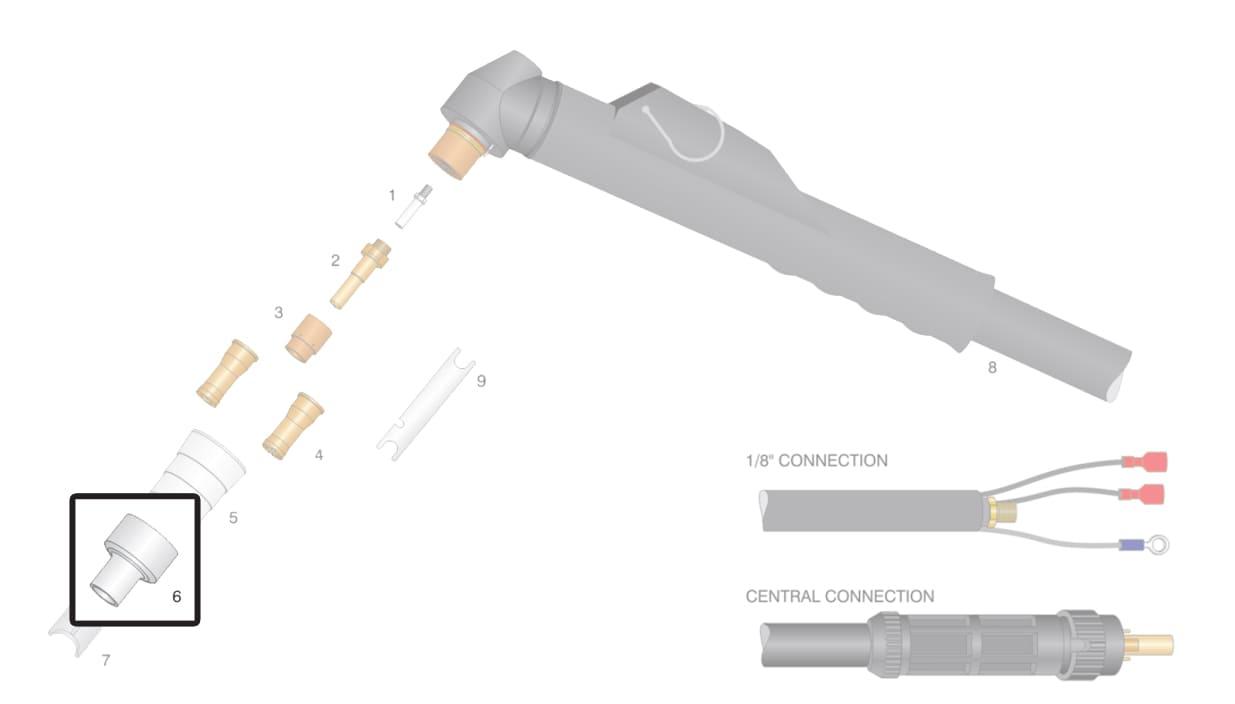 Dettaglio ricambi  protezione ugello torcia cebora p55 p80 cp90 plasma