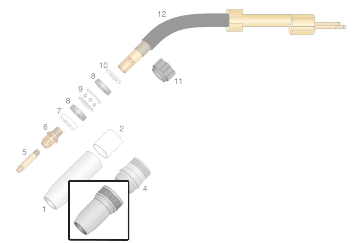 dettaglio ricambio ugelli posteriori torcia ocim rm 652 saldatura mig