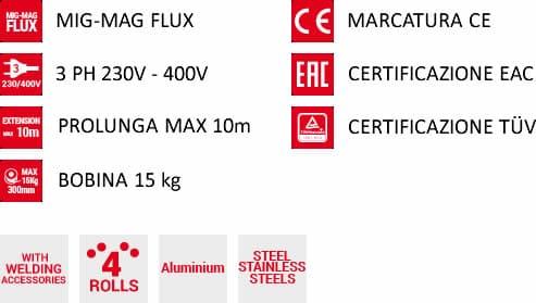 Caratteristiche saldatrice a filo mastermig 400 230-400v telwin
