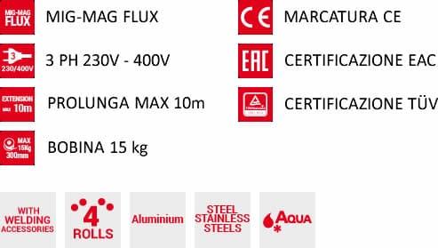 Caratteristiche saldatrice a filo mastermig 500 230-400v aqua telwin