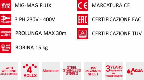 Caratteristiche saldatrice a filo supermig 480 230-400v aqua telwin