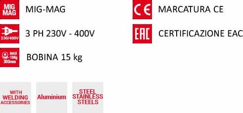 Caratteristiche saldatrice a filo telmig 250/2 turbo 230-400v telwin