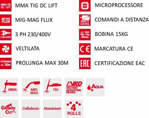 dettaglio saldatrice inverter multiprocesso superior 630 ce vrd mig pack aqua