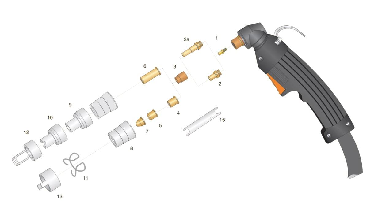 dettaglio torcia taglio plasma lincoln ews ex40 2v ex60