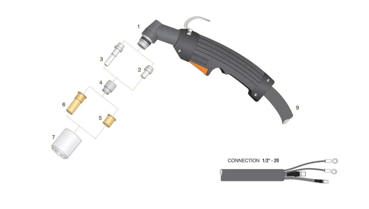 dettaglio torcia taglio plasma max40 pac140 ht40 hypertherm attacco 1/2-20