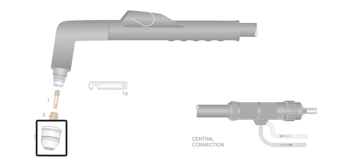 dettaglio ugello esterno ricambio torcia taglio plasma ex100rf d1200 lincoln ews otc