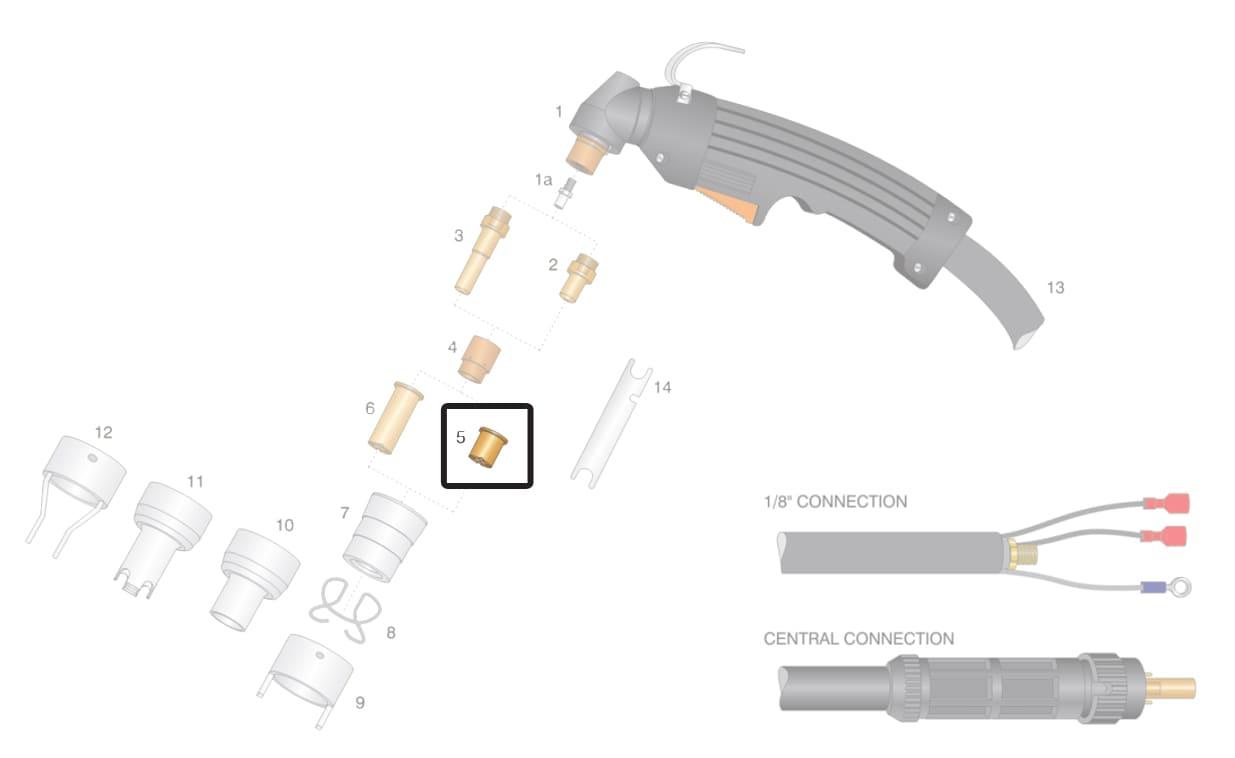 Dettaglio ugello lungo 50A 60A 70A torcia cebora p36 p52 p70 plasma