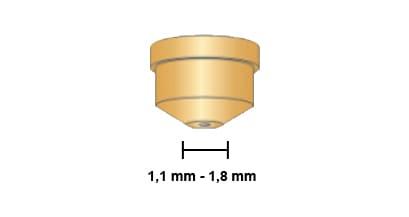 Dettaglio ugello rame torcia cebora mp150 mcp160 plasma