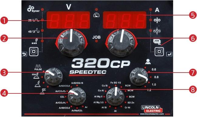 pannello di controllo speedtec 320CP lincoln electric