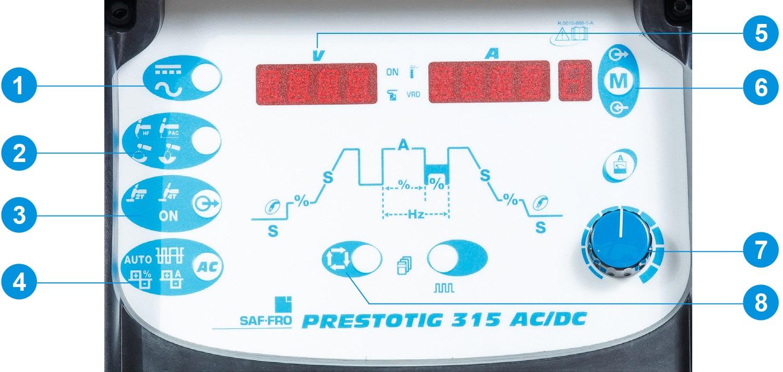 pannello di controllo frontale saldatrice Prestotig 315 AC/DC Saf-Fro